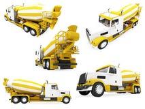Collage van geïsoleerda bouwvoertuig Stock Fotografie