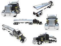 Collage van geïsoleerdem grote vrachtwagen Royalty-vrije Stock Foto