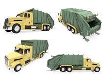 Collage van geïsoleerden stortplaatsvrachtwagen Royalty-vrije Stock Foto