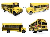 Collage van geïsoleerdet schoolbus Stock Afbeelding
