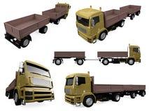 Collage van geïsoleerdet vrachtwagen Stock Fotografie
