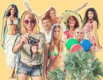 Collage van gelukkige mensen Royalty-vrije Stock Afbeelding