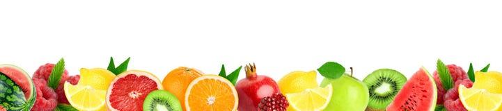 Collage van gemengde vruchten Verse kleurenvruchten stock illustratie