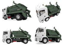 Collage van geïsoleerde stortplaatsvrachtwagen Royalty-vrije Stock Foto's