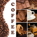 Collage van geurige koffie Stock Afbeelding