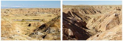 Collage van het de vijverwater van woestijn de droge ruwe heuvels Stock Afbeeldingen