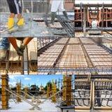 Collage van het gieten van beton Royalty-vrije Stock Foto's