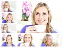 Collage van het jonge blonde vrouw drinken royalty-vrije stock foto