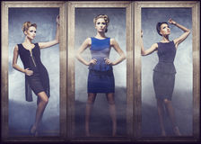 Collage van het jonge vrouw stellen in modieuze kleding Stock Fotografie