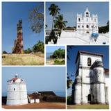 Collage van het Noorden en Zuiden de oriëntatiepunten van Goa, India Stock Afbeelding