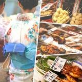 Collage van het voedselbeelden van Japan - reisachtergrond (mijn foto's) Stock Foto