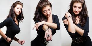Collage van hete jonge vrouw in bodysuit royalty-vrije stock foto's