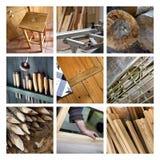 Collage van hout en schrijnwerkerij Stock Afbeeldingen