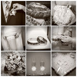 Collage van huwelijksfoto's. Sepia Royalty-vrije Stock Afbeelding