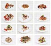 Collage van internationaal voedsel stock foto