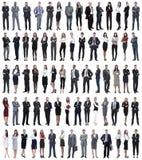 Collage van jonge bedrijfsmensen die zich op een rij bevinden stock foto