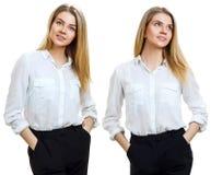 Collage van jonge bedrijfsvrouw met blondehaar royalty-vrije stock foto's