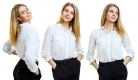 Collage van jonge bedrijfsvrouw met blondehaar stock foto's