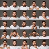 Collage van jonge mensenuitdrukkingen en emoties royalty-vrije stock foto