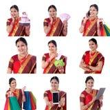 Collage van jonge vrolijke Indische vrouw met diverse uitdrukkingen over wit stock afbeeldingen