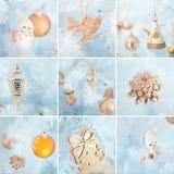 Collage van Kerstmisdecoratie Stock Afbeelding