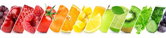 Collage van kleurenvruchten en groenten stock afbeelding