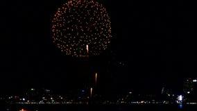 Collage van kleurrijk vuurwerk die in de nachthemel voor Gelukkig Nieuwjaar exploderen stock footage