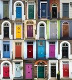 Collage van 24 kleurrijke deuren in Londen Stock Afbeeldingen