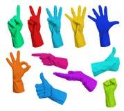 Collage van kleurrijke rubberhandschoenen Royalty-vrije Stock Foto's