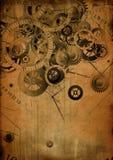 Collage van klokken op uitstekende achtergrond Royalty-vrije Stock Afbeelding