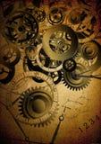 Collage van klokken op uitstekende achtergrond stock illustratie