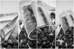 Collage van koffiedetails, de uitstekende toon van koffiebonen, de achtergrond van het kunstwerk Royalty-vrije Stock Foto's