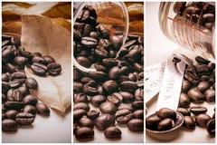 Collage van koffiedetails, de uitstekende toon van koffiebonen, de achtergrond van het kunstwerk Stock Afbeelding