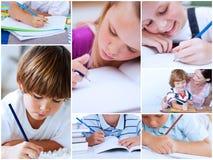 Collage van leerlingen het bestuderen Stock Foto's