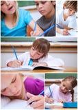 Collage van leuke leerlingen Stock Afbeelding