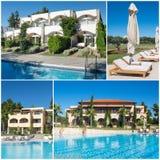 Collage van luxe toeristisch hotel Stock Foto