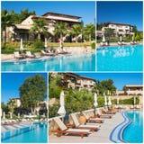 Collage van luxe toeristisch hotel stock afbeelding