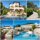 Collage van luxe toeristisch hotel royalty-vrije stock afbeeldingen