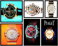 Collage van luxehorloges Stock Fotografie