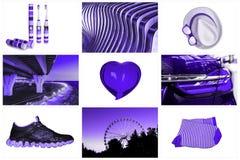 Collage van maniertoebehoren een glashart, een hoed, tandenborstels, sokken, tennisschoenen, bruggen, een kleur van de Reuzenradt royalty-vrije stock fotografie