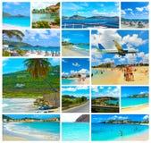 Collage van meningen van het Caraïbische strand in Heilige Martin stock afbeelding