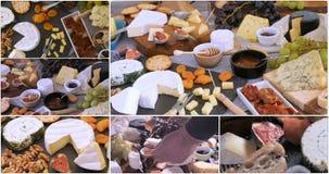 Collage van meningen van een assortiment van kaas stock videobeelden
