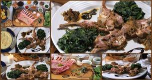 Collage van meningen van een rek van lam met muntsaus, met spinazie en fijngestampte aardappels stock videobeelden