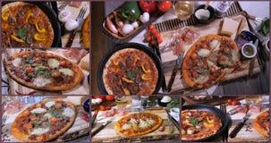 Collage van meningen van Italiaanse pizza stock footage
