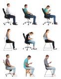 Collage van mensen die op stoelen tegen wit zitten Houdingsconcept royalty-vrije stock foto