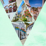 Collage van Mijas met bloempotten in voorgevels $c-andalusisch wit dorp Costa del Sol Royalty-vrije Stock Fotografie