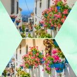 Collage van Mijas met bloempotten in voorgevels $c-andalusisch wit dorp Costa del Sol Royalty-vrije Stock Afbeeldingen