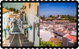 Collage van Mijas met bloempotten in voorgevels $c-andalusisch wit dorp Costa del Sol Royalty-vrije Stock Foto