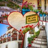 Collage van Mijas met bloempotten in voorgevels $c-andalusisch wit dorp Costa del Sol Stock Afbeelding