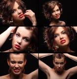 Collage van mooi meisje met een litteken op gezicht en schouder Royalty-vrije Stock Foto's